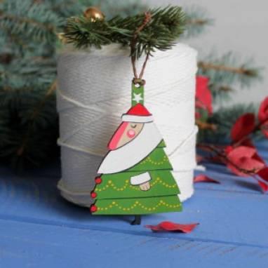 """елочная игрушка """"елка Дед Мороз"""" ручной работы"""