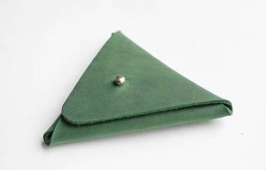 Монетница кожаная (dirty green) ручной работы