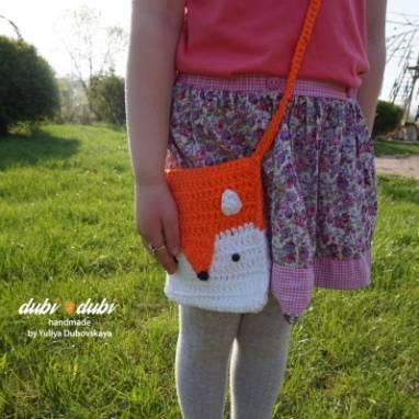 Вязанная сумка лисичка ручной работы
