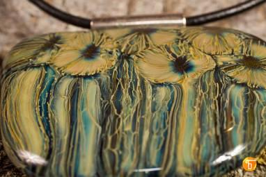 """Подвеска из стекла """"Подводные цветы"""" ручной работы"""