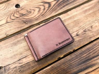 Зажим для денег и монет из натуральной кожи ручной работы