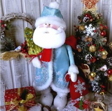 текстильная интерьерная новогодняя игрушка Дед Мороз ручной работы
