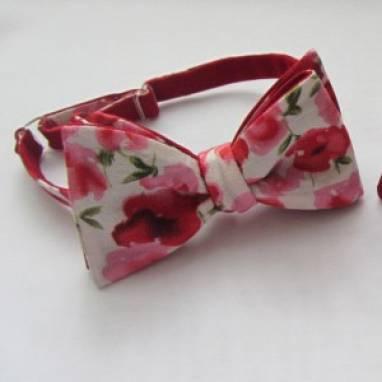 Двухсторонний галстук-бабочка с цветами  ручной работы