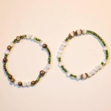 Комплект браслетов из кошачьего глаза и чешского хрусталя ручной работы