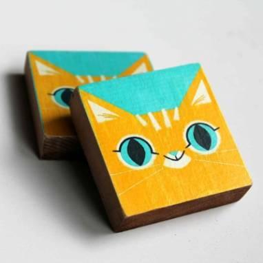 Магнит деревянный с котом ручной работы