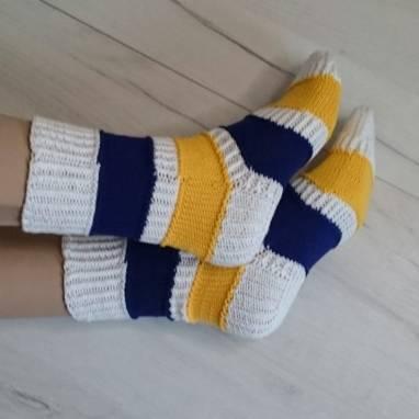 """Носки женские - домашняя обувь """"Белый-синий-золотой"""" ручной работы"""