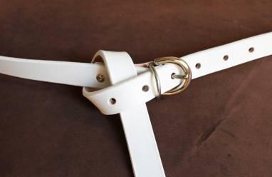 Ремень кожаный (white) ручной работы
