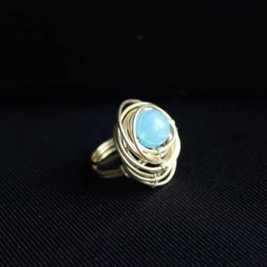 кольцо с аквамарином ручной работы
