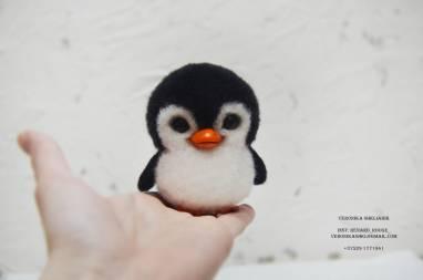 Валяный Пингвинчик из шерсти ручной работы