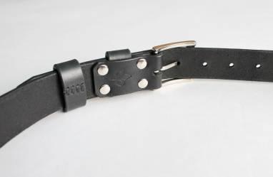 Ремень кожаный (black) ручной работы