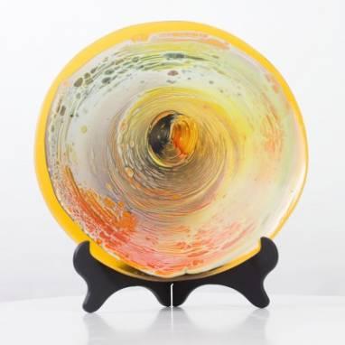 """Интерьерная тарелка из стекла """"Лава"""" фьюзинг ручной работы"""