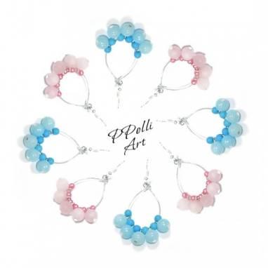 Серьги капельки из камней и бусин розовые голубые ручной работы