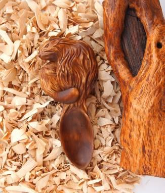 Деревянный Магнит Ложка-Бобр ручной работы