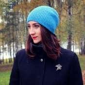 шапка бини цвета лазурный