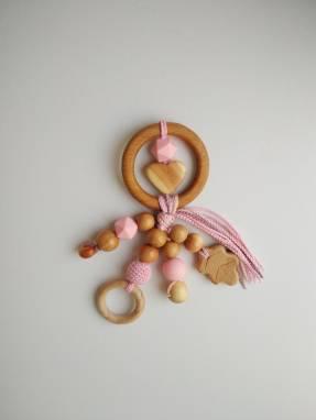Грызунок-погремушка Большое кольцо с можжевеловыми подвесками ручной работы