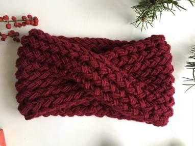 Объёмная повязка чалма «Зимняя вишня» ручной работы