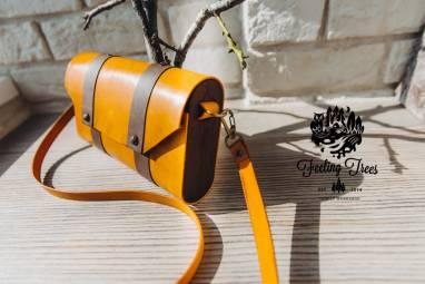 Женская сумка-клатч из кожи и дерева (Wood leather bag) ручной работы