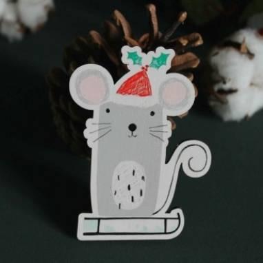 Игрушка на елку в виде крысы символа года 2020 ручной работы