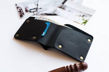 Leather Wallet / #1 / Black ручной работы