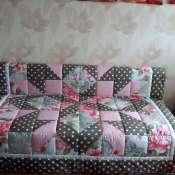 Покрывало-плед для 2-спальной кровати из натуральных материалов 2.1х2.1 м