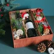 Подарочный набор в деревянной коробке с орехами