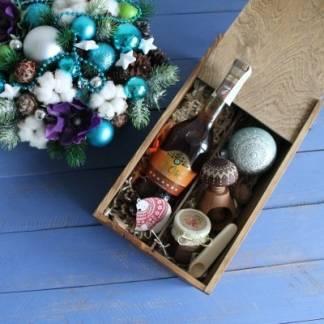 Новогодний подарок для мужчин в деревянной коробке