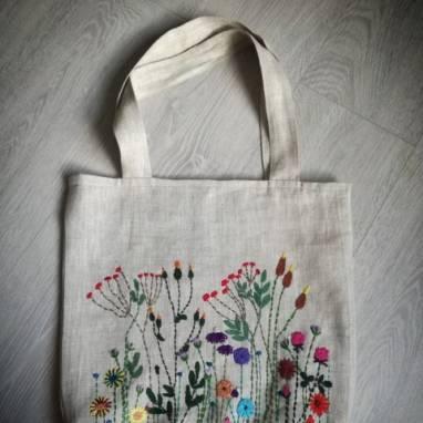 сумка из льна ручной работы