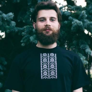 """Мужская футболка вышиванка """"Кветкі"""" ручной работы"""