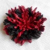 Брошь цветок пион из натуральной кожи
