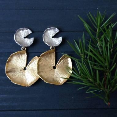 Серьги-гвоздики в серебре с позолотой ручной работы