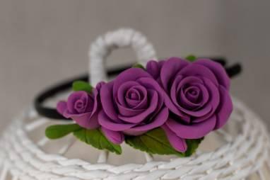 """Обруч для волос """"Розы в фиолете"""" из полимерной глины ручной работы"""