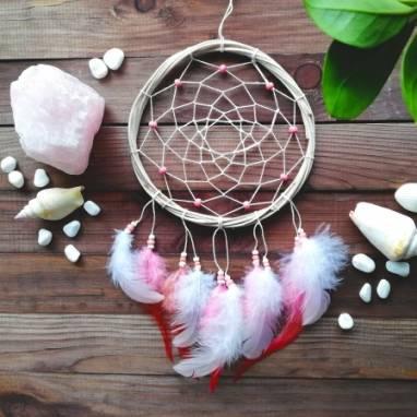 Розовый ловец снов, Подарок для дочери, Подарок лучшей подруге, Украшение на стену в детскую ручной работы