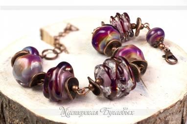 """Браслет из стекла """"Фиолетовые волны"""" lampwork(лампворк) ручной работы"""