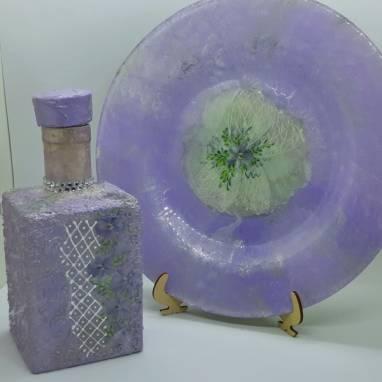 """Набор посуды: графин и тарелка  """"Violet"""" ручной работы"""