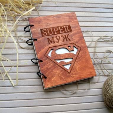 Блокнот с деревянной обложкой ручной работы