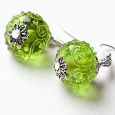 """Серьги из стекла """"Зеленое настроение"""" lampwork(лампворк) ручной работы"""