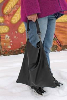 Сумка кожаная Maxi (black) ручной работы
