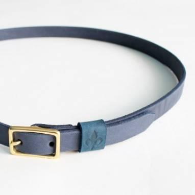 Ремень кожаный (blue) ручной работы