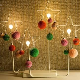 Ёлочные шарики 3 см, обвязанные крючком