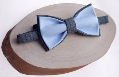 Серо-голубая мужская бабочка ручной работы