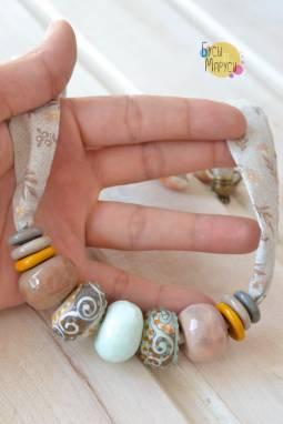 Морские бусы из стекла. ручной работы