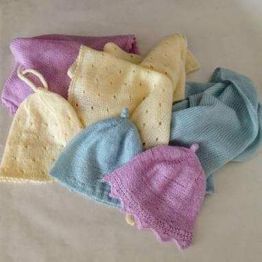 """Комплект шапочка и плед-одеялко для малыша """" Розовый"""" ручной работы"""