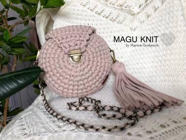 Круглая сумка в цвете Айвори ручной работы