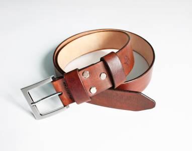 Ремень кожаный (dark brown) ручной работы