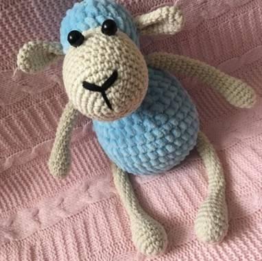 Мягкая игрушка зефирная овечка ручной работы