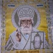 картина икона бисером(чешским) Святой Николай Чудотворец