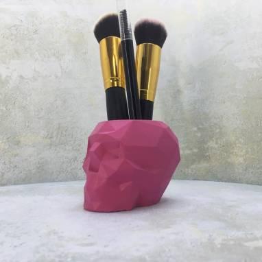 Органайзер полигональный череп розовый ручной работы