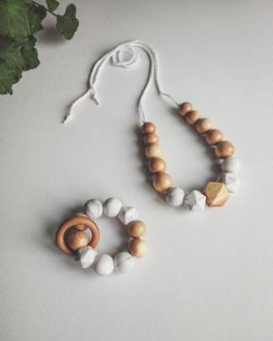 Подарок малышу Набор Экобусы и грызунок Можжевельник и пищевой силикон ручной работы