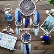 Большой синий ловец снов, Украшение на стену, Декор для дома, Подарок для мамы, Подарок на годовщину
