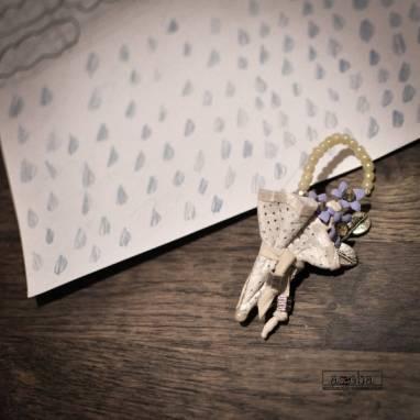 брошь-зонтик из натуральной кожи ручной работы